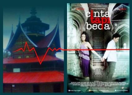"""Surau bergonjong dan rangkiang dan poster film """"Cinta Tapi Beda"""". Gambar: diolah oleh LenteraTimur.com/Arif Budiman."""
